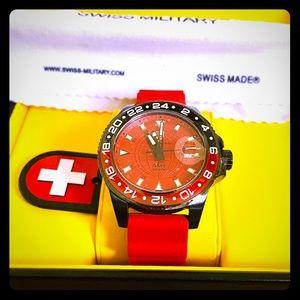 *NWT* Swiss Military GMT NERO SCUBA RED WATCH $635